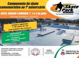 Campeonato marca celebra��o de primeiro ano do Skate Park Gravata�